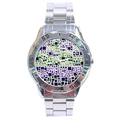 Block On Block, Purple Stainless Steel Analogue Watch