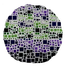 Block On Block, Purple Large 18  Premium Flano Round Cushions by MoreColorsinLife