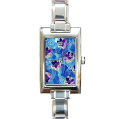 Purple Flowers Rectangle Italian Charm Watch