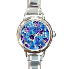 Purple Flowers Round Italian Charm Watch
