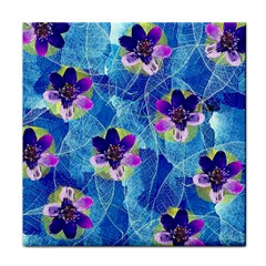 Purple Flowers Tile Coasters