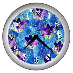 Purple Flowers Wall Clocks (silver)  by DanaeStudio