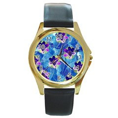 Purple Flowers Round Gold Metal Watch