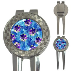 Purple Flowers 3-in-1 Golf Divots