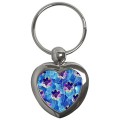 Purple Flowers Key Chains (heart)  by DanaeStudio