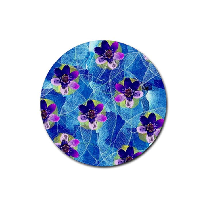 Purple Flowers Rubber Round Coaster (4 pack)