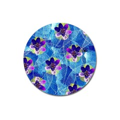 Purple Flowers Magnet 3  (Round)