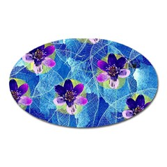 Purple Flowers Oval Magnet