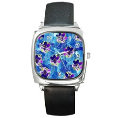 Purple Flowers Square Metal Watch