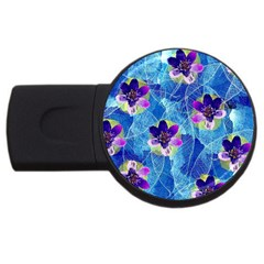 Purple Flowers USB Flash Drive Round (4 GB)