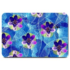 Purple Flowers Large Doormat  by DanaeStudio