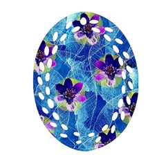 Purple Flowers Oval Filigree Ornament (2-Side)