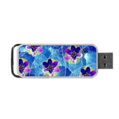 Purple Flowers Portable USB Flash (One Side)