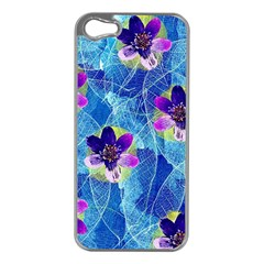 Purple Flowers Apple iPhone 5 Case (Silver)
