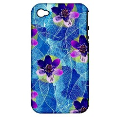 Purple Flowers Apple Iphone 4/4s Hardshell Case (pc+silicone) by DanaeStudio
