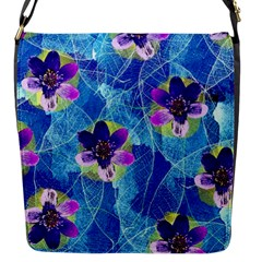 Purple Flowers Flap Messenger Bag (s) by DanaeStudio