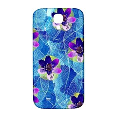Purple Flowers Samsung Galaxy S4 I9500/I9505  Hardshell Back Case