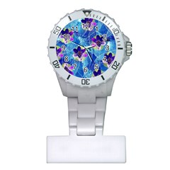 Purple Flowers Plastic Nurses Watch