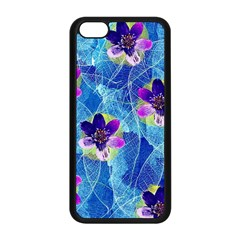 Purple Flowers Apple iPhone 5C Seamless Case (Black)