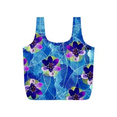 Purple Flowers Full Print Recycle Bags (S)