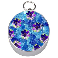 Purple Flowers Silver Compasses
