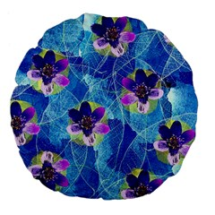 Purple Flowers Large 18  Premium Flano Round Cushions