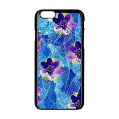 Purple Flowers Apple iPhone 6/6S Black Enamel Case