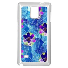 Purple Flowers Samsung Galaxy Note 4 Case (White)