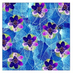 Purple Flowers Large Satin Scarf (Square)