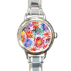 Colorful Succulents Round Italian Charm Watch