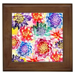 Colorful Succulents Framed Tiles