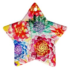 Colorful Succulents Ornament (Star)