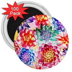 Colorful Succulents 3  Magnets (100 pack)