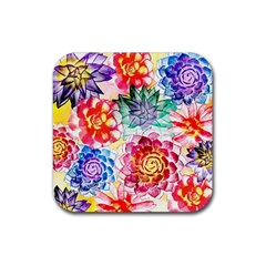 Colorful Succulents Rubber Coaster (Square)