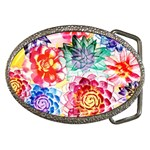 Colorful Succulents Belt Buckles Front