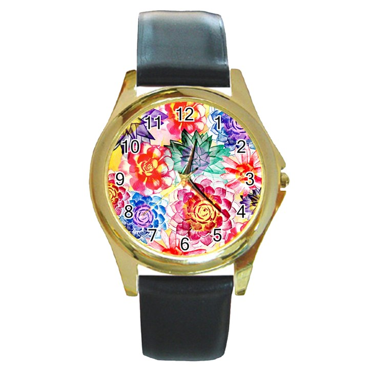 Colorful Succulents Round Gold Metal Watch