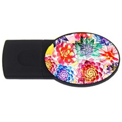 Colorful Succulents USB Flash Drive Oval (2 GB)