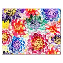 Colorful Succulents Rectangular Jigsaw Puzzl