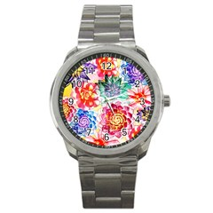 Colorful Succulents Sport Metal Watch by DanaeStudio