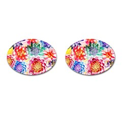 Colorful Succulents Cufflinks (Oval)