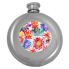 Colorful Succulents Round Hip Flask (5 oz)