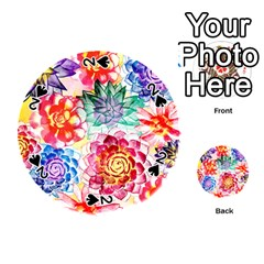 Colorful Succulents Playing Cards 54 (Round)