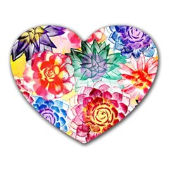 Colorful Succulents Heart Mousepads
