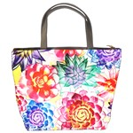 Colorful Succulents Bucket Bags Back