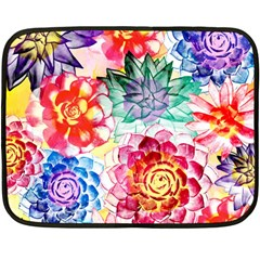 Colorful Succulents Fleece Blanket (Mini)