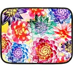 Colorful Succulents Double Sided Fleece Blanket (Mini)  35 x27 Blanket Back
