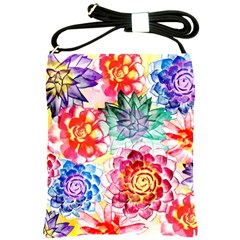 Colorful Succulents Shoulder Sling Bags