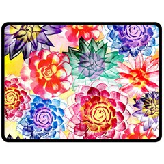 Colorful Succulents Fleece Blanket (Large)