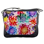 Colorful Succulents Messenger Bags Front