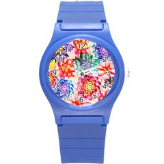 Colorful Succulents Round Plastic Sport Watch (s) by DanaeStudio